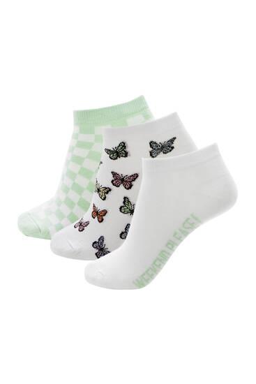 Σετ με κάλτσες πεταλούδες και καρό σχέδιο