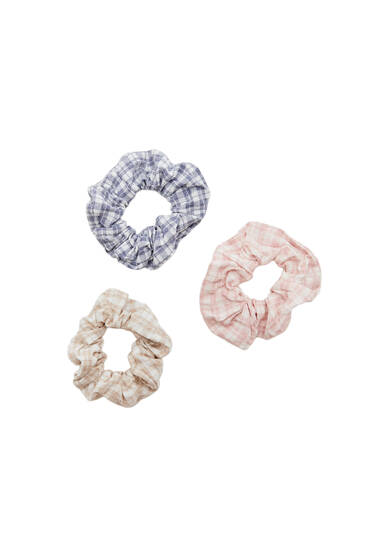 3-pack of check print scrunchies
