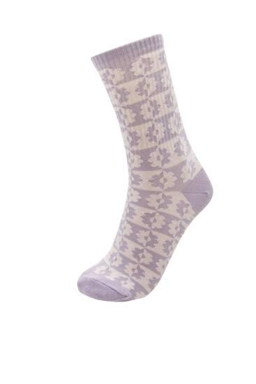 Ψηλές κάλτσες με χρωματιστά λουλούδια