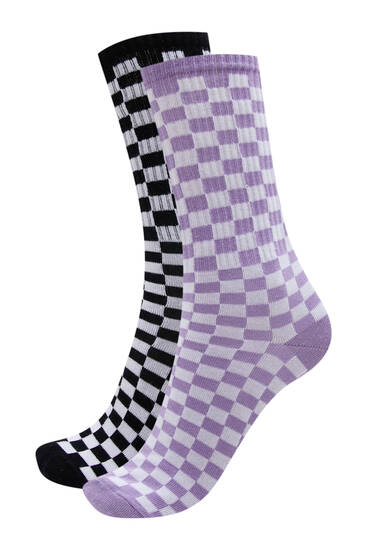 Pack of chequered print socks
