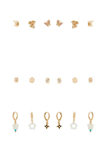 9-pack of pearly earrings
