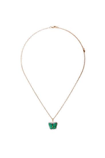Ceramic butterfly pendant necklace