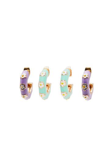 Pack of enamelled floral hoop earrings