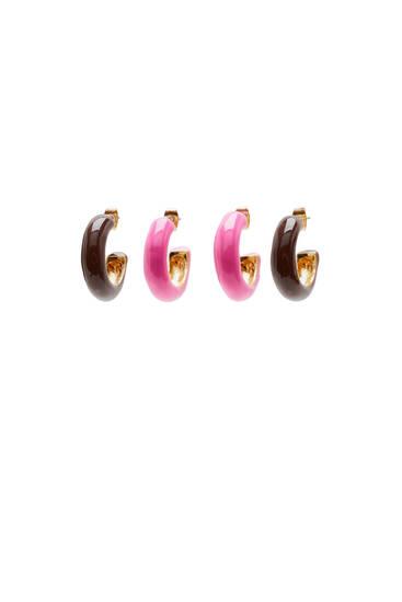 Pack of glazed hoop earrings