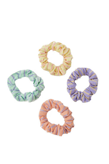 4-pack of ribbed coloured scrunchies with stripes