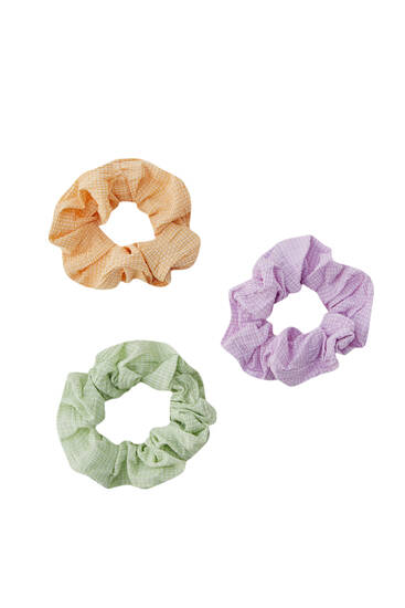 Pack of 3 gingham check scrunchies