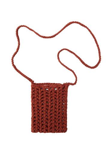 Crochet herringbone mobile phone bag