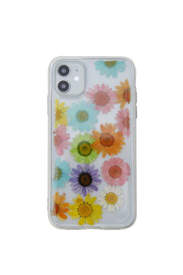Transparent floral smartphone case