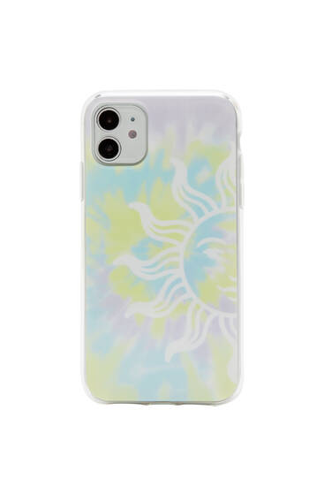 Tie-dye smartphone case with sun
