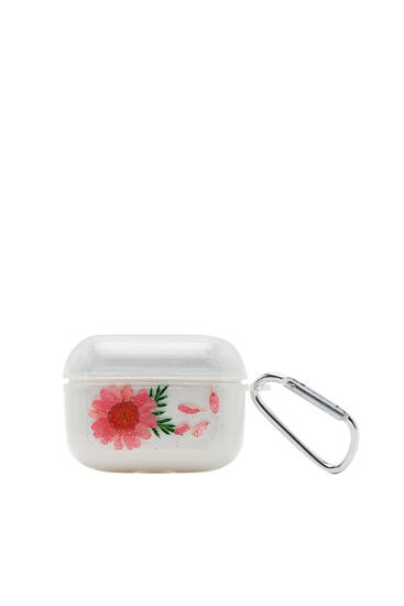 Transparent AirPods case with natural flower detail