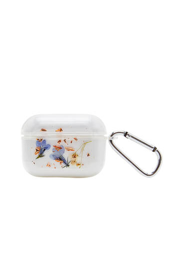 Transparent AirPods case with flower detail