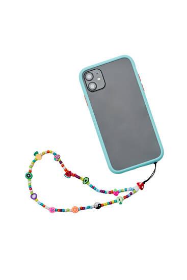 Beaded symbol mobile phone strap