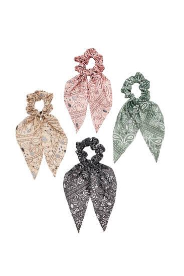 4-pack of bandana print scrunchies