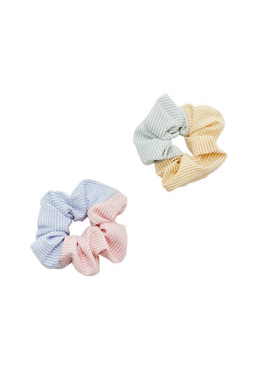 Pack of striped patchwork scrunchies