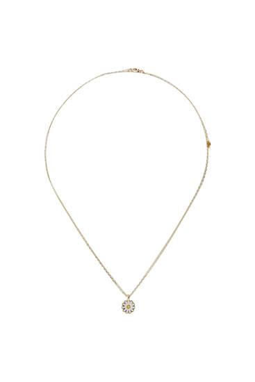 Metallic necklace with Daisy pendant
