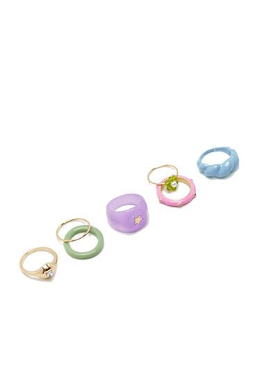 Pack 7 anillos resina colores