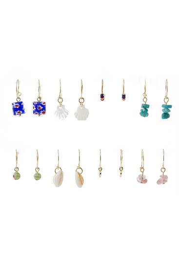 Pack of 8 pairs of seashell earrings with beading