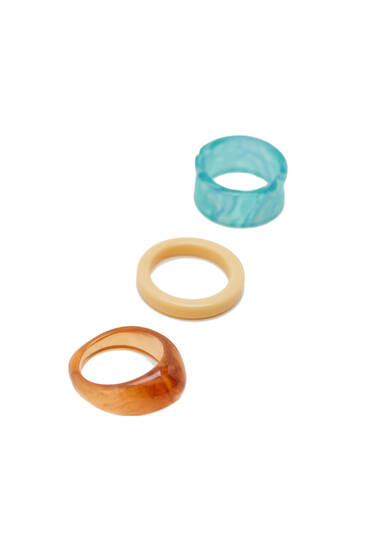 Pack 3 anillos resina colores