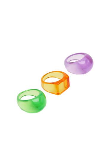 3-pack of neon coloured resin rings