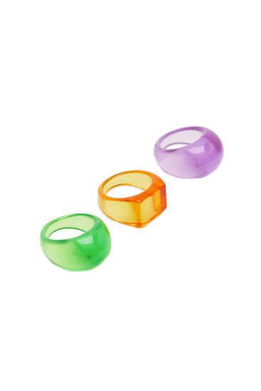 Pack 3 anillos resina colores flúor