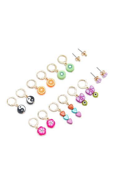 Pack of 8 pairs of fruit and symbol earrings