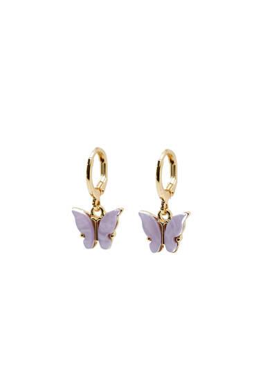 Enamelled butterfly earrings