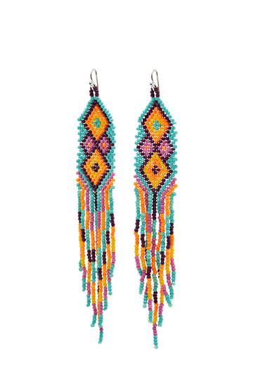 Beaded earrings with geometric shapes
