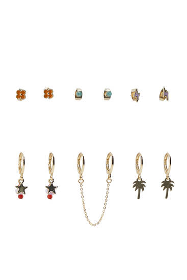 Pack of 6 pairs of earrings with symbols
