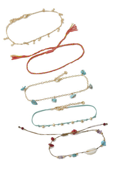 5-Pack of metallic shell anklets