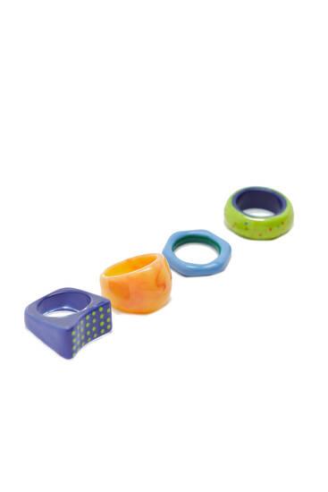Pack 4 anillos resinas brillos