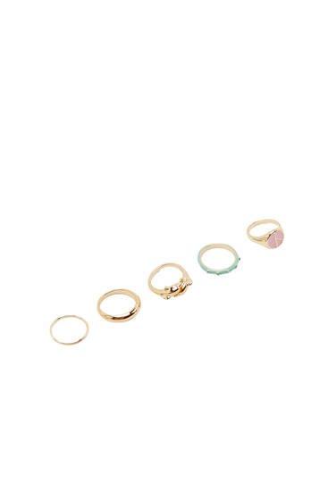 Pack of 5 dolphin signet rings