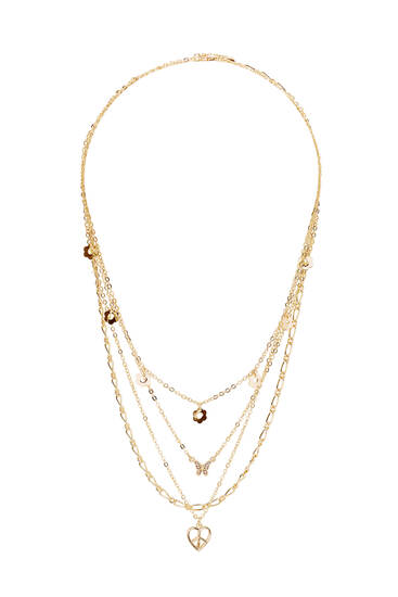 Pack of gold-toned bead necklaces