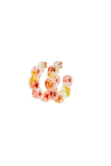 Boucles d'oreille créoles fleurs séchées