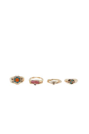 6-pack of enamel floral rings