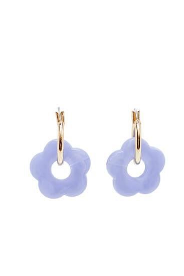 Resin flower hoop earrings