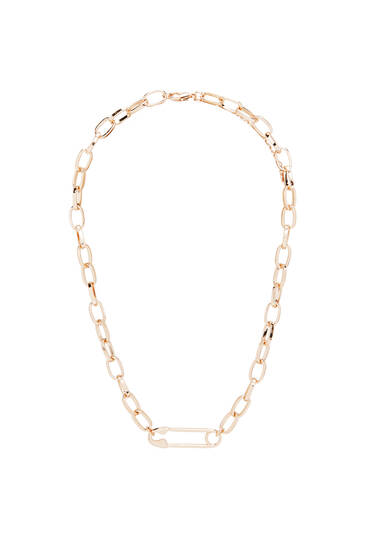 Gold safety pin chain necklace