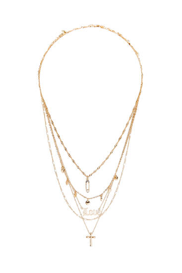 Pack of 5 metallic love necklaces
