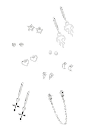 Pack of shining star earrings