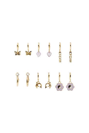 6-pack charm hoop earrings