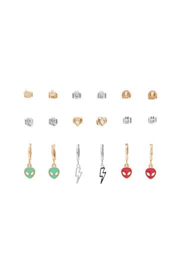 Pack of space earrings