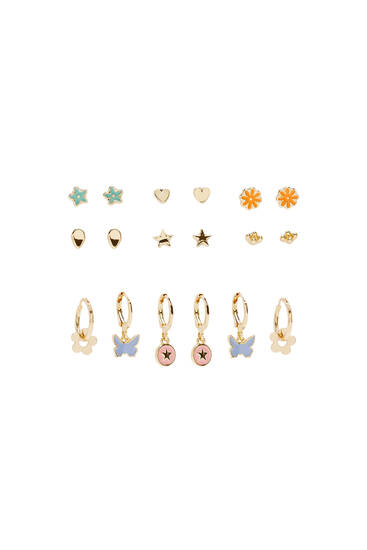 9-pack of earrings in assorted shapes