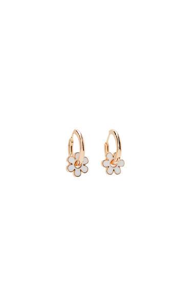 Mini flower hoop earrings