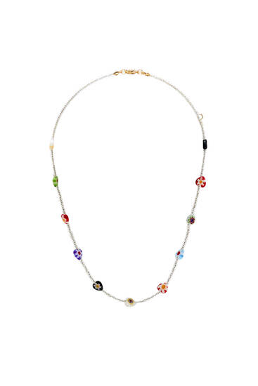 Beaded necklace with hearts