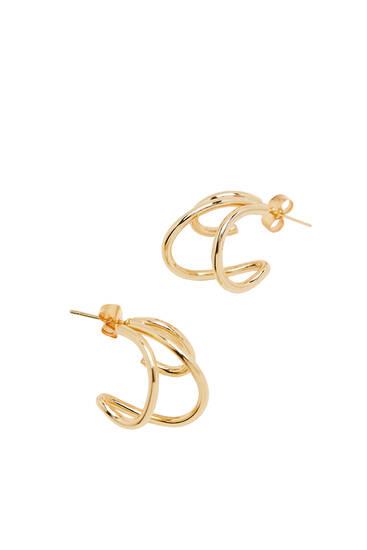 Gold-plated triple hoop earrings