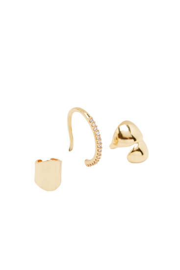 2-pack of gold-plated ear cuffs and earring