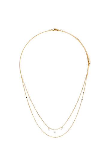 2-pack of shiny gold-plated minimalist necklaces