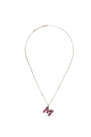 Initial necklace with dried flowers