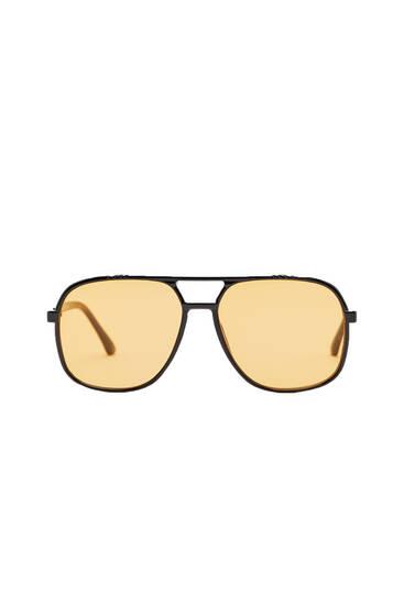 Aviator sunglasses with orange lenses