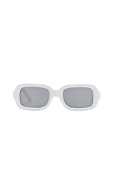 White rectangular sunglasses