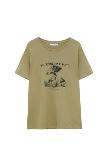 Printed mushroom graphic T-shirt